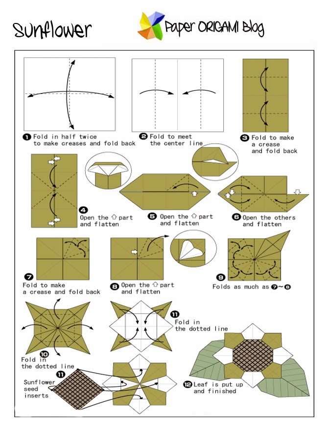 Flowers Origami Sunflower Paper Origami Guide
