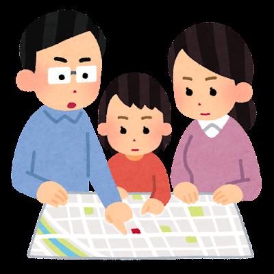 避難所を確認する家族のイラスト