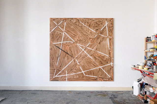"""Michel Carmantrand RESTRAINED Michel Carmantrand RESTRAINED BURNING, 185x185cm (72.8x72.8""""), acrylic paint and oil on canvas."""