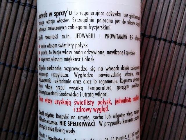 Marion, Natura Silk - Jedwab w spray'u, etykieta