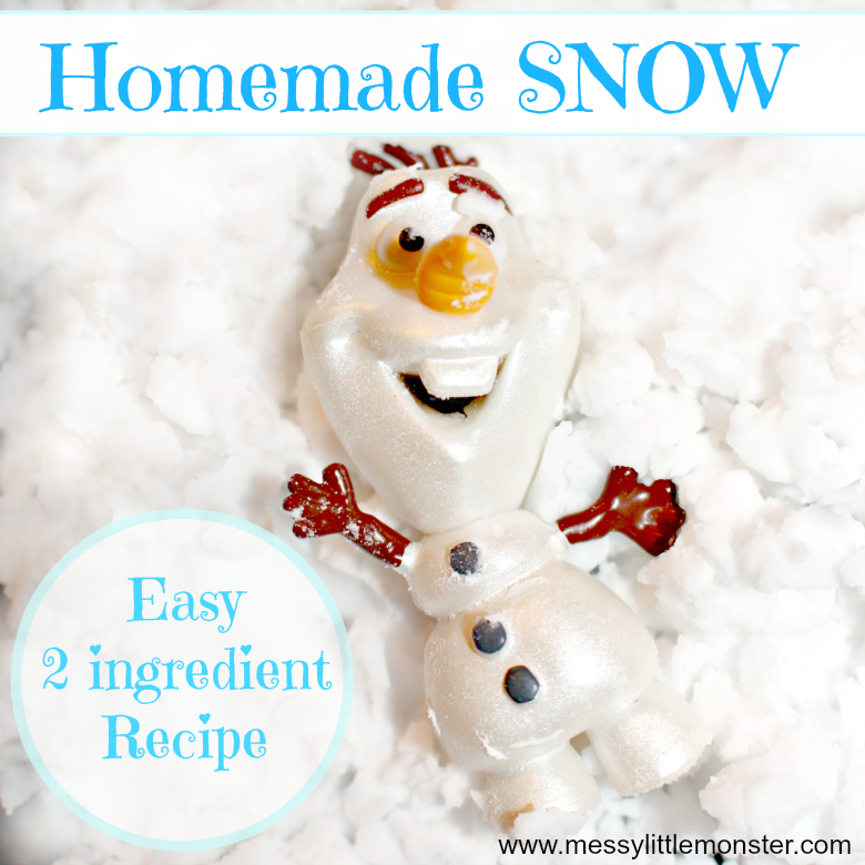 Fake snow recipe snow activity for kids