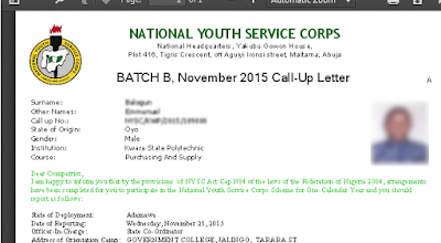 See How to Print out NYSC Call-Up Letter 2018 Online | NYSC portal.nysc.org.ng/nysc