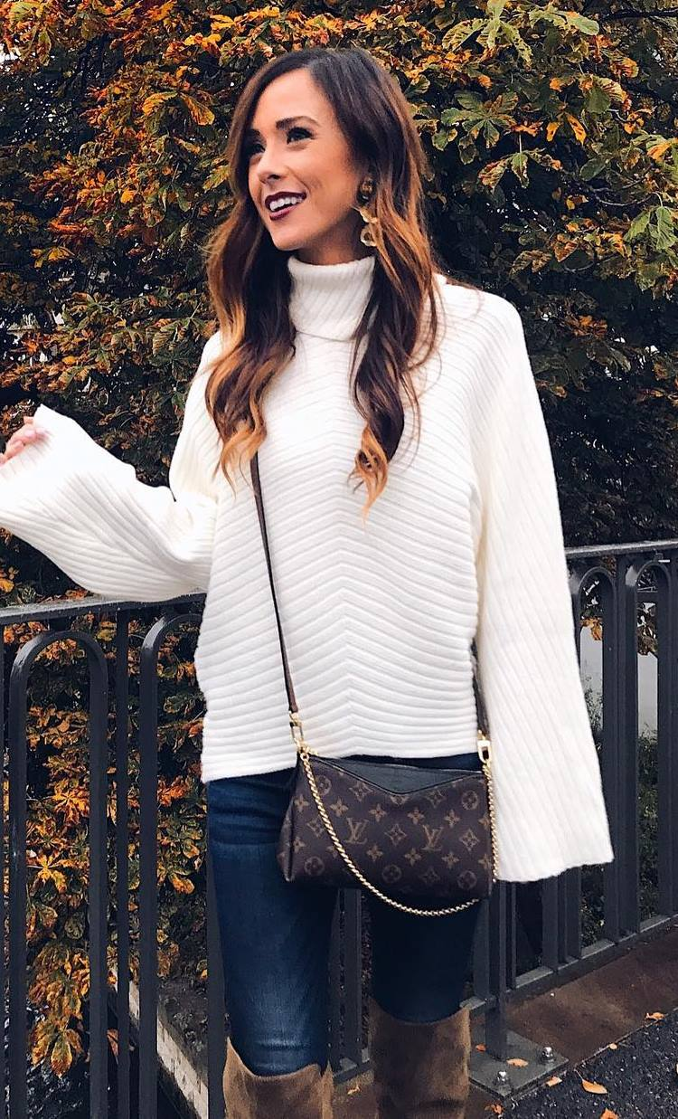 outfit of the day | white knit sweater + bag + skinnies + brown over knee boots