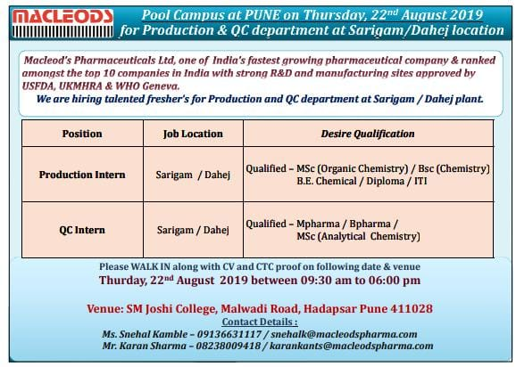 Macleods walk in for QC Interns and Production Intern for Vapi and Dahej location at SM Joshi college Hadapsar Pune .