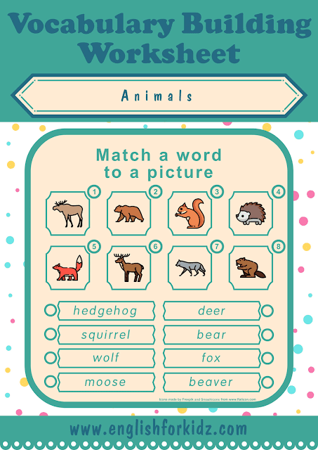 Forest animals worksheet - word to picture matching - free ESL worksheets