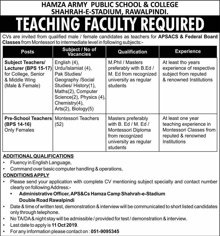 Teaching Jobs in Hamza Army Public School & College