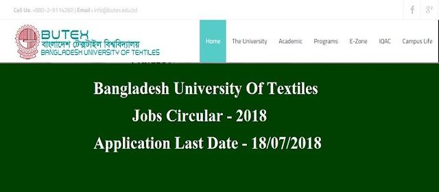 Bangladesh University Of Textiles Jobs Circular 2018
