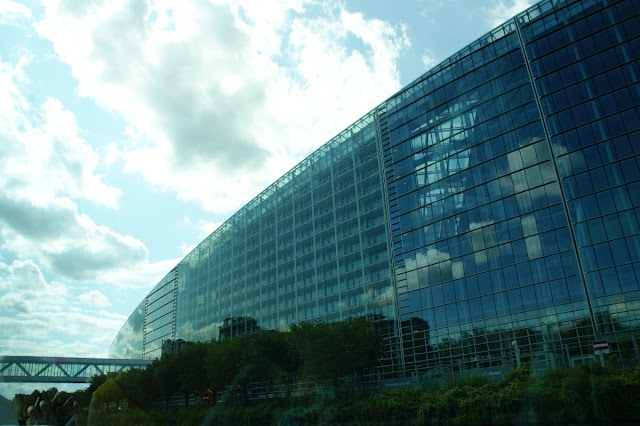Il Palazzo ellittico di vetro, legno e metallo del Parlamento Europeo di Strasburgo