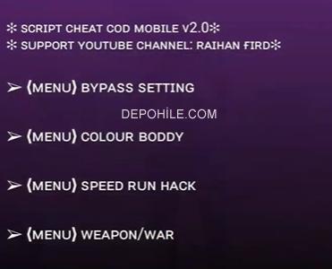 Call of Duty Mobile Raihan v2 Script Speed, Wall Hilesi Ekim 2019