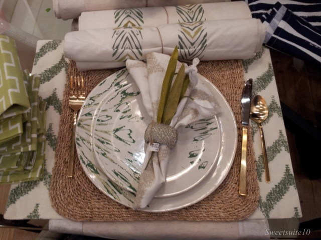 Lovely West Elm place setting with gold cutlery