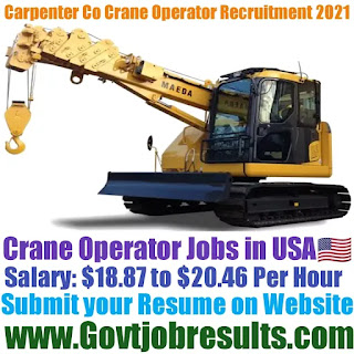 Carpenter Co Crane Operator Recruitment 2021-22