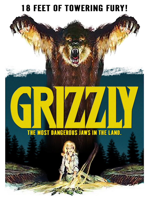 Movie poster showing roaring grizzly bear towering over girl sitting by campfire