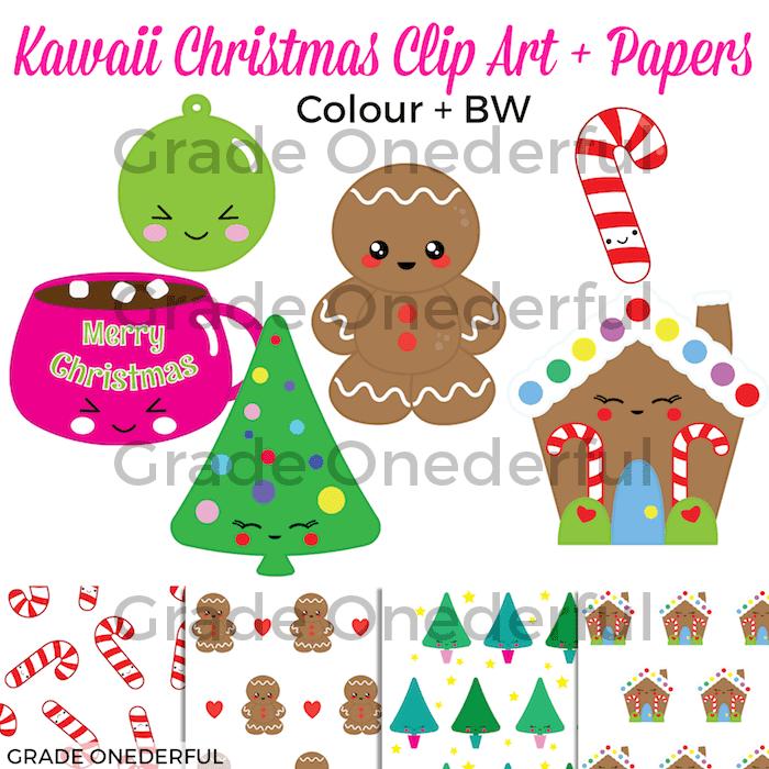 Kawaii Christmas Clip Art. 18 adorable colour and black/white images plus 4 super cute papers. #gradeonederful #kawaiiclipart #kawaiichristmas #christmasclipart