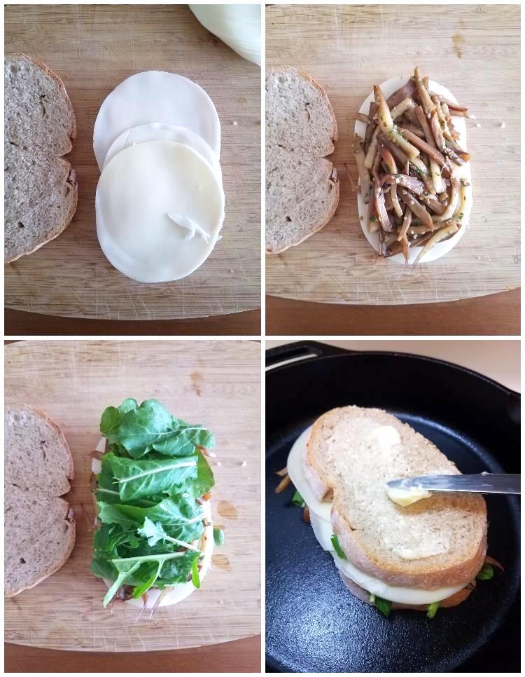 Preparación del sándwich de berenjena