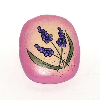Flower wooden hand painted bead