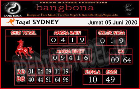 Prediksi Sydney Jumat 05 Juni 2020 - Prediksi Bang Bona