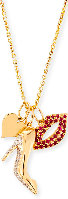 Sydney Evan 14k Heart, Stiletto & Lips Trio Pendant Necklace