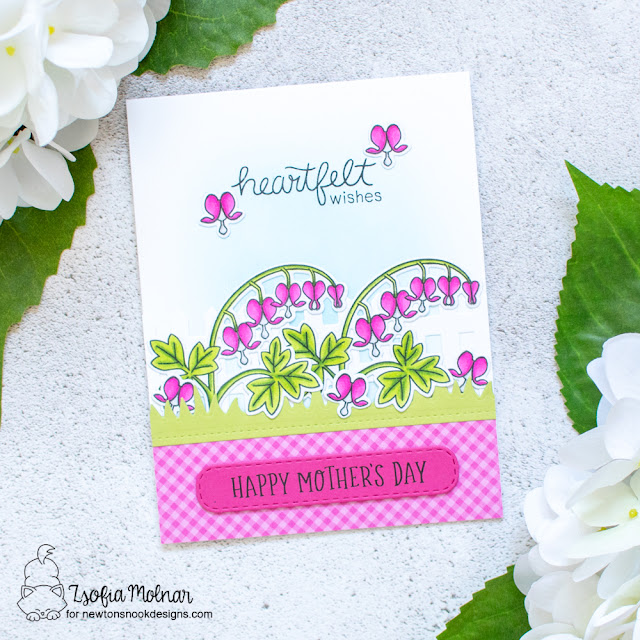 Floral Mother's Day Card by Zsofia Molnar | Bleeding Heart and Mom & Dad Stamp Sets by Newton's Nook Designs #newtonsnook #handmade