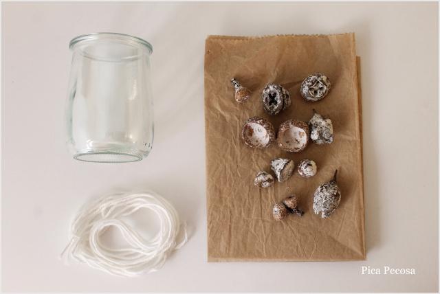 decoracion-mesa-navidad-diy-botes-velas-frutos-otoño-materiales