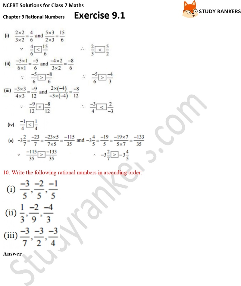 NCERT Solutions for Class 7 Maths Ch 9 Rational Numbers Exercise 9.1 9
