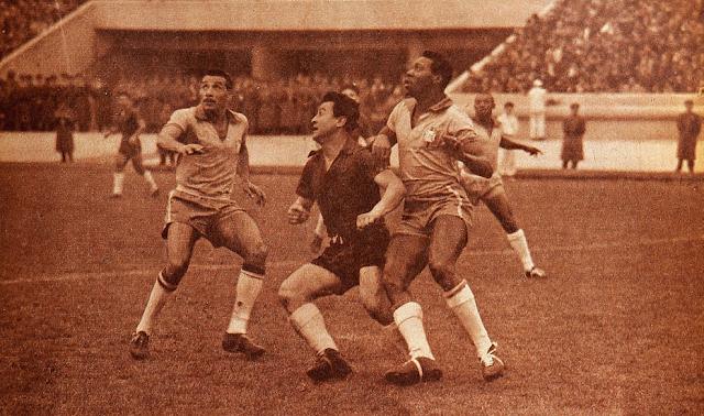 Chile y Brasil en Copa O'Higgins 1957, partido de ida