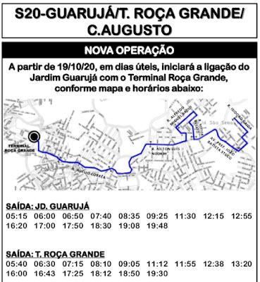 Horário de ônibus S20 GUARUJÁ/T. ROÇA GRANDE/ C.AUGUSTO 2020 | Colombo PR