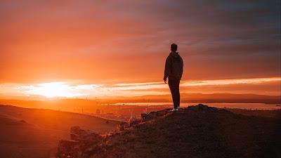Wallpaper meditation, alone.  Man, Sunset