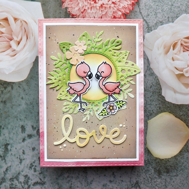 Sunny Studio Stamps: Fabulous Flamingos Customer Card by Femke
