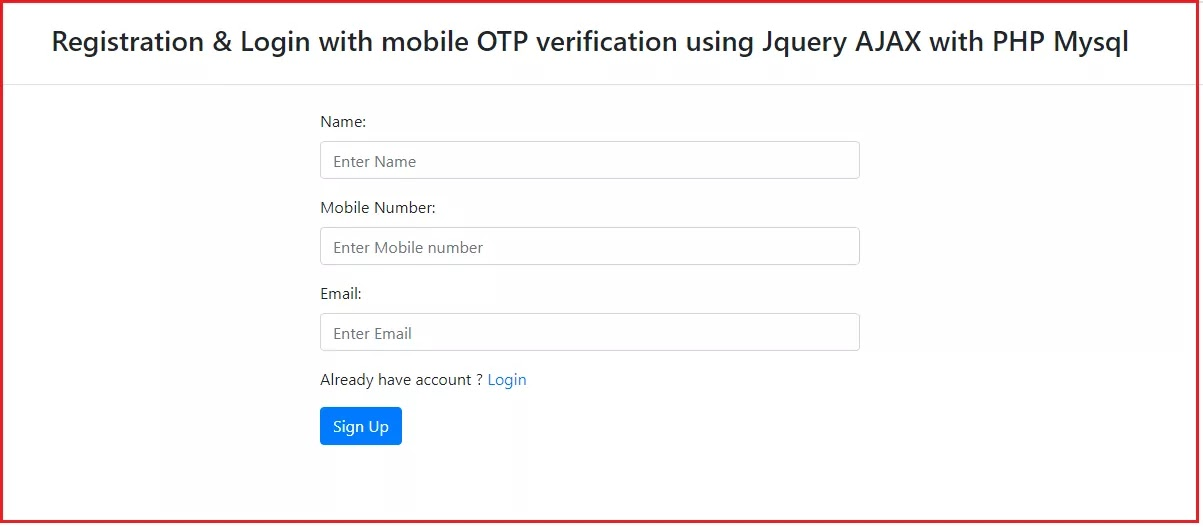 Implement OTP SMS Mobile Verification in PHP with TextLocal, Mobile Number Verification via OTP SMS using PHP, OTP or one-time password,  SMS gateway
