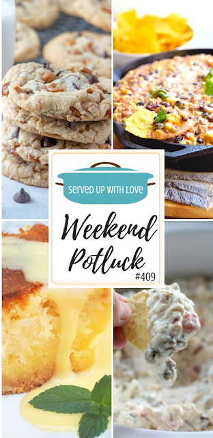 Weekend Potluck featured recipes include Kitchen Sink Cookies, Easy Mexican Hot Bean Dip, Gooey Coconut Pineapple Butter Cake, Crock Pot Sausage Dip, and so much more.