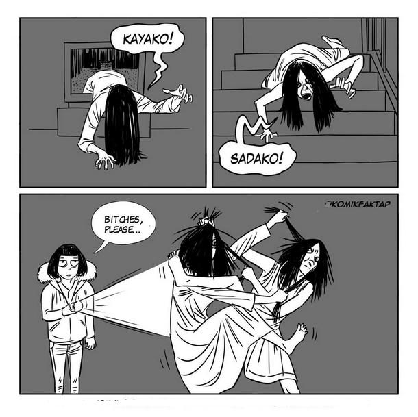 kayako vs Sadako dan Sodoku sedang berantem