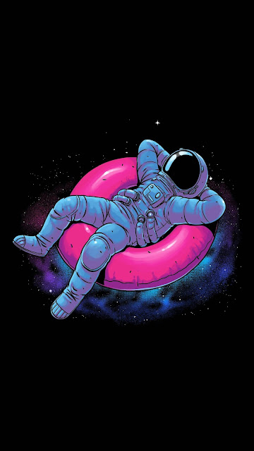 Wallpaper funny astronaut traveling on space phone