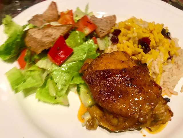 Zereshk polo ba morgh - Persian chicken with saffron and barberry rice
