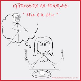 être à la diète, régime, expression illustrée, français illustré, FLE, le FLE en un 'clic', expression française