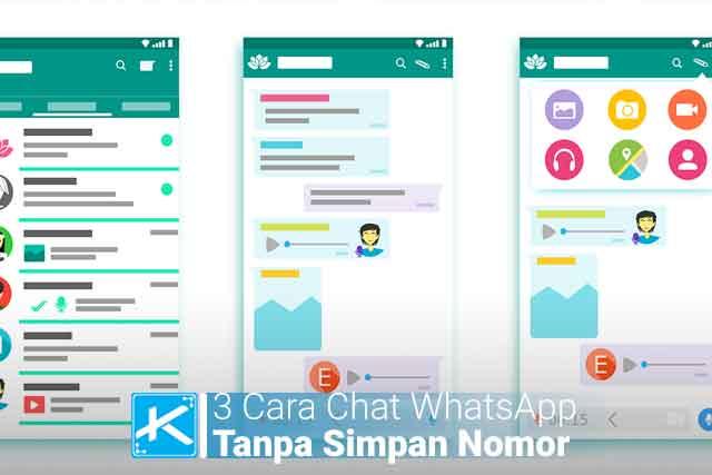 Cara Mengirim Chat WhatsApp Tanpa Menyimpan Nomor penerima / nomor kontak. Menggunakan perintah wa.me/nomortujuan atau menggunakan WhatsDirect di PC/Android.