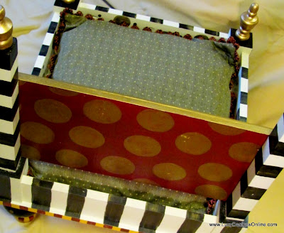 hand painted dots and stripes on dog bed