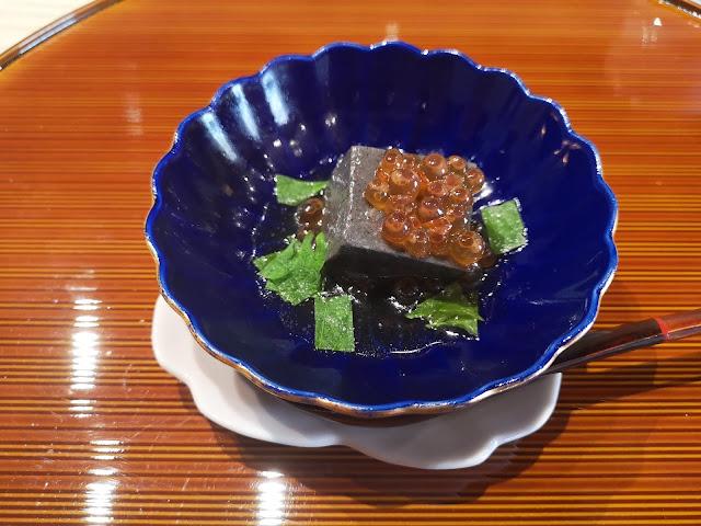 Crab Black Sesame Tofu with Ikura (Salmon Roe) in Dashi Stock