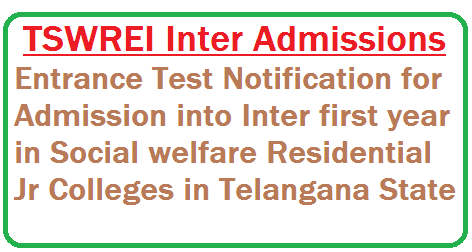 #TSWREIS Entrance Test 2016 for Admission into Inter with Integrated Coaching,TS Social Welfare Eamcet IIT JEE Coaching Admission Test Notification,TSWREIS Admission Entrance Test 2016 www.tswreis.cgg.gov.in details is as folows  Applications are invited from Boys and Girls for admissions into 1st year intermediate MPC (with IITJEE/EAMCET coaching) and BPC (with EAMCET Coaching) and MEC/CEC (with CA-CPT Coaching) with English as the medium of instruction for the academic year 2016-2017. The following Institutions are functioning with the above courses under the TSWREI Society.  http://www.tsteachers.in/2016/01/tswrei-social-welfare-society-inter-admission-test-notification-2016-17.html