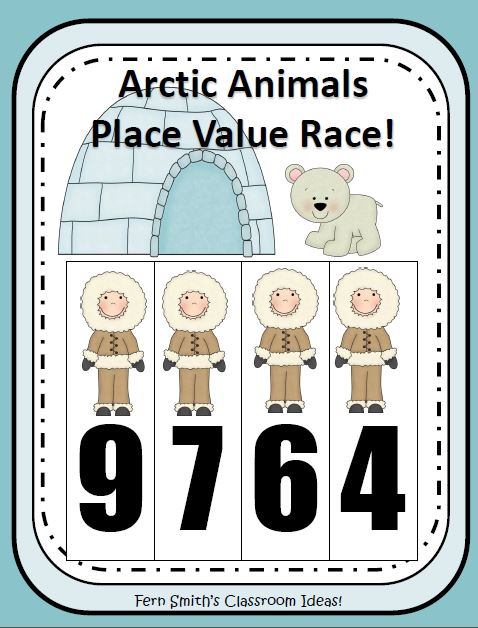 Fern Smith's Center Game - Place Value Race Arctic Winter Animals