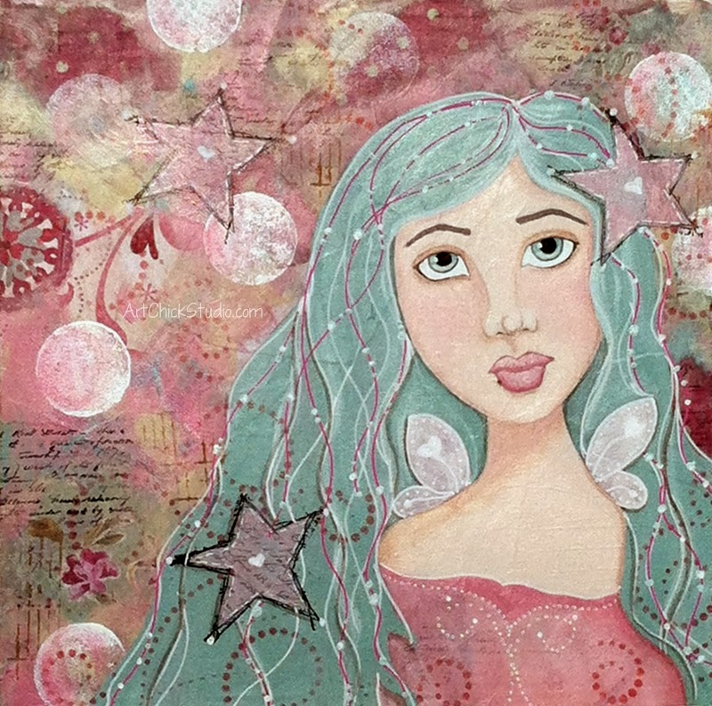 Star Fairy Mixed Media Art