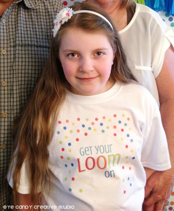 custom t-shirt design, get your loom on, birthday party custom tee