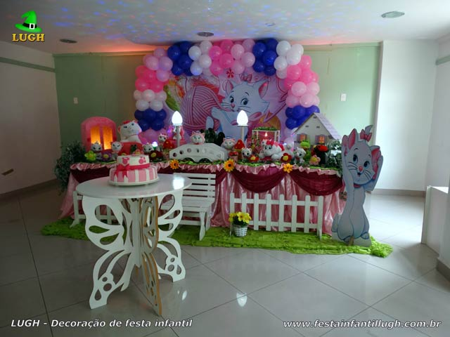 Tema Gata Marie para mesa de aniversário - Decoração de festa infantil