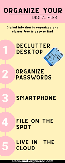 An infographic with tips on how to organize your digital life. Apply one or two tips here may help you avoid tech fatigue, and increase your productivity.  #organizedigitalfiles #decluttercomputer #organizedigitallife