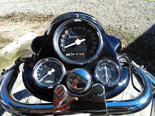 View of motorcycle instrument panel.