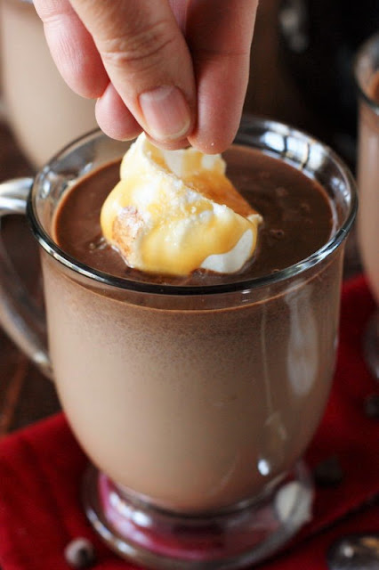 Sprinkling Mug of Salted Caramel Hot Chocolate with Sea Salt Image