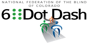 NFBCO 6 Dot Dash logo includes a number 6, A full braille cell, followed by the words Dot Dash and underneath 3 whozit characters running