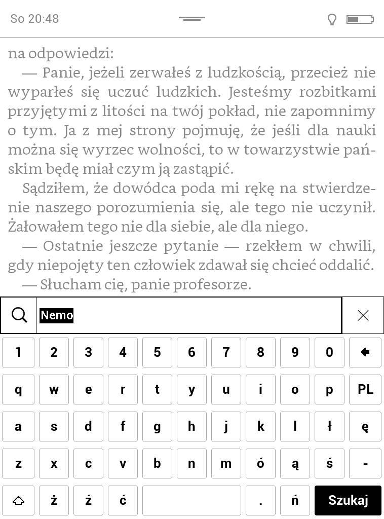 Wyszukiwanie w tekście w Pocketbook Touch Lux 4 – wpisywanie wyszukiwanego słowa