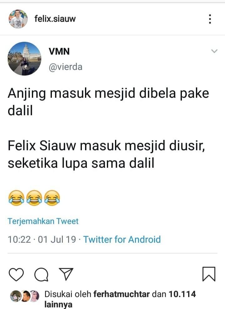 Sindiran Maut Ust Felix Siauw untuk Pembela SM