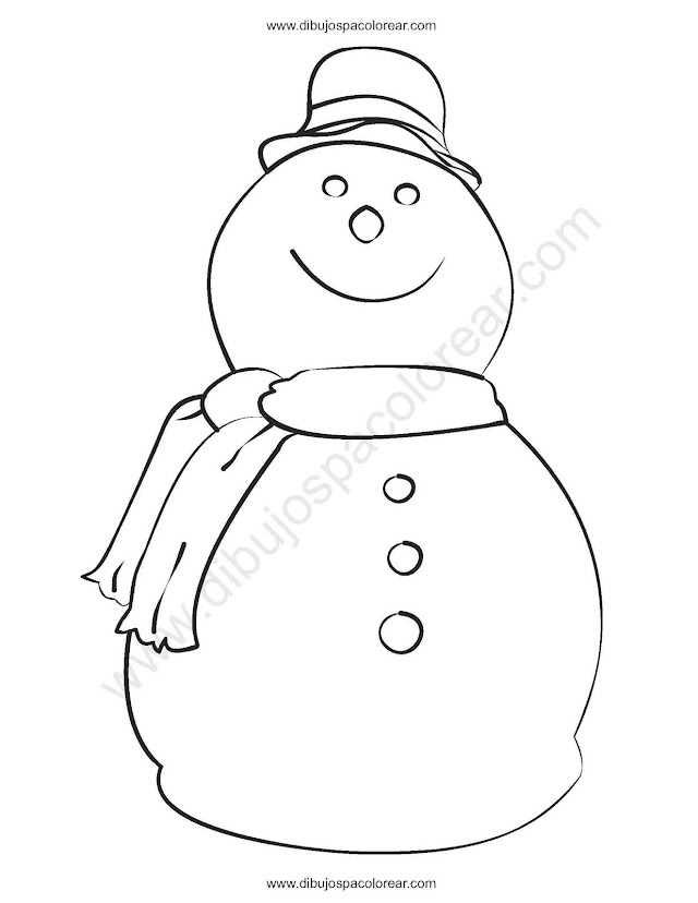 Muñeco de nieve de navidad para colorear