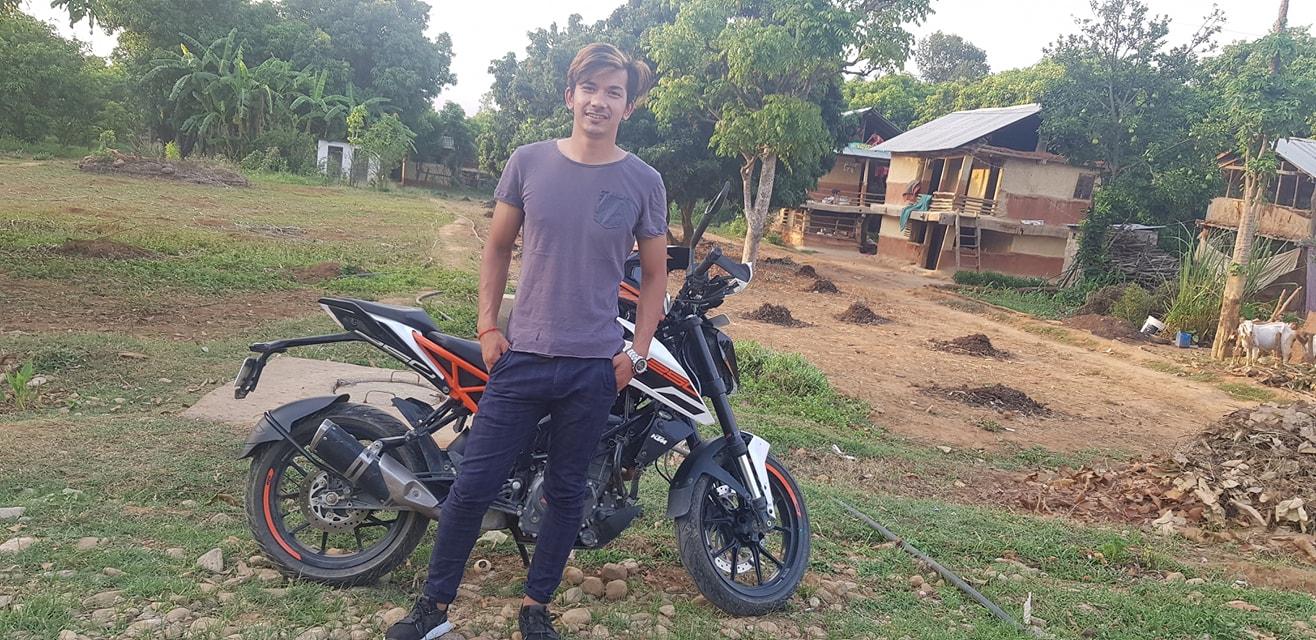 Pawan Jung Shahi Thakuri with His Duke 200 bike